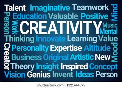 Creativity Word Cloud on Blue Background