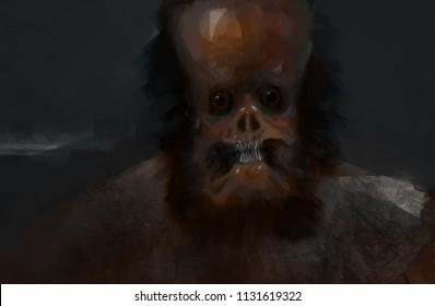 Creature alien big foot strange closeup portrait digital art illustration