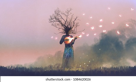 creature with branch head playing magic banjo string instrument with glowing butterflies, digital art style, illustration painting