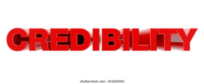 CREDIBILITY red word on white background illustration 3D rendering