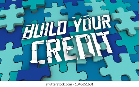 Credit Building Puzzle Pieces Rebuild Fix Repair Score Rating 3d Illustration