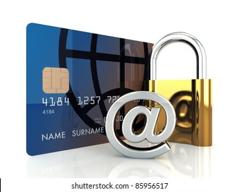 Credit card ,arobase sign and a padlock on white background , 3d illustration