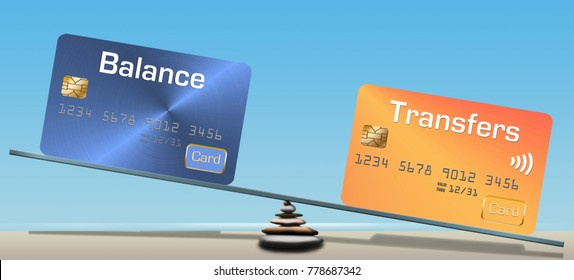Credit card balance transfers are the subject of this 3-D illustration of credit cards balanced on a seesaw on the beach.