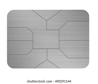 credit card chip silver isolated on white