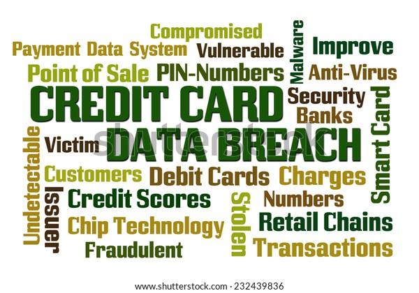Credit Card Data Breach Word Cloud Stock Illustration 232439836