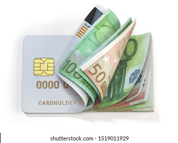 Credit card and euro in cash. Banking, shopping concept. Opening a wallet or bank account in EU Europen Union. 3d illustration