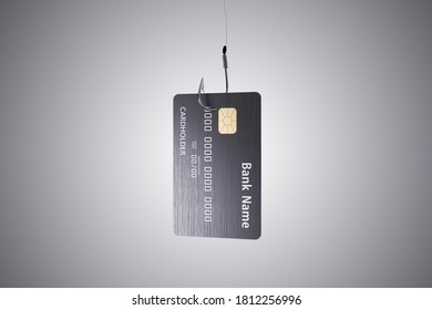 Credit card hanging on metal hook on gray backgriund. Fraud and data  concept. 3D Rendering