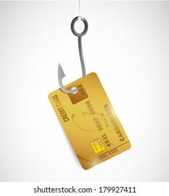 credit card and hook illustration design over a white background