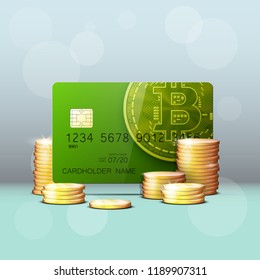 Credit card HUD Golden bitcoin. Digital currency money. Technology credit card bitcoin mining worldwide. Web banner golden bitcoin plastic card. Physical bit coin. Cryptocurrency electronic coin money