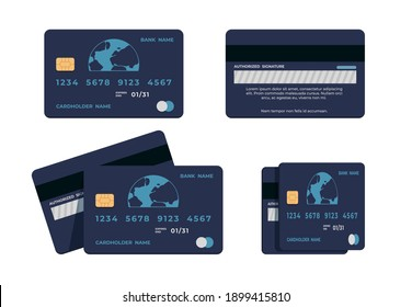 Credit card. Illustrations flat mockup of ATM card wit numbers and cardholder name, front and back view.  concept for money transfer commercial bank, blue image on black background