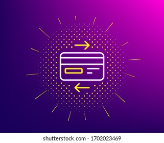 Credit card line icon. Halftone pattern. Bank payment method sign. Online Shopping symbol. Gradient background. Credit card line icon. Yellow halftone pattern.