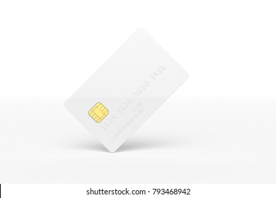Credit card mockup isolated on white background 3d illustration