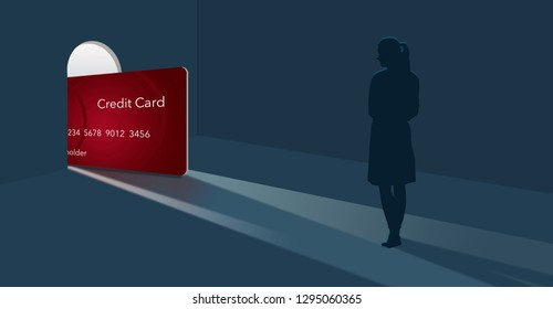 """Credit card offers reach out to get your attention. Here is an image of a credit card getting """"a foot in the door"""" as it enters a woman's home. This is an illustration."""