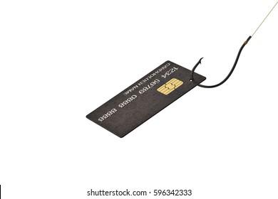 Credit card on fishing hook.3D illustration.