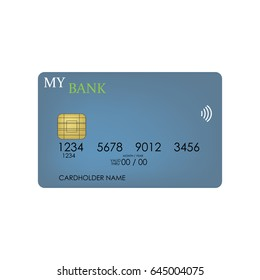 credit card on the white background.  illustration