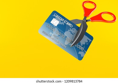 Credit card with scissors isolated on orange background. 3d illustration