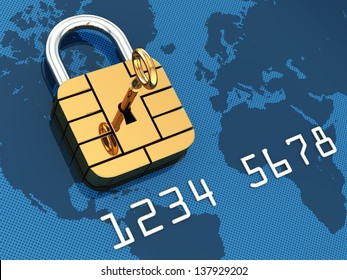 Credit card security chip as padlock ,safe banking