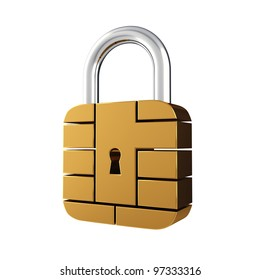 Credit card security chip as padlock , isolated on white