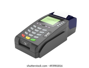 Credit card swipe machine in isolated background 3d rendering.