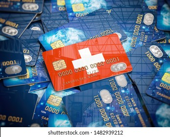 Credit card of swiss bank on the heap of other different cards. Opening a bank account in Switzerland. 3d illustration