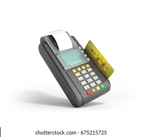 Credit Card trminal Machine 3D rendering on white