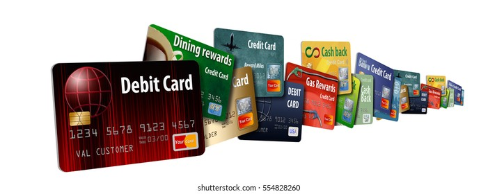 Credit cards and debit cards stacked together to represent having too many credit cards.