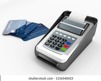 credit cards payment pos machine 3d rendering