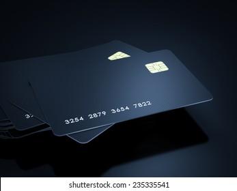 Credit cards stack on black background