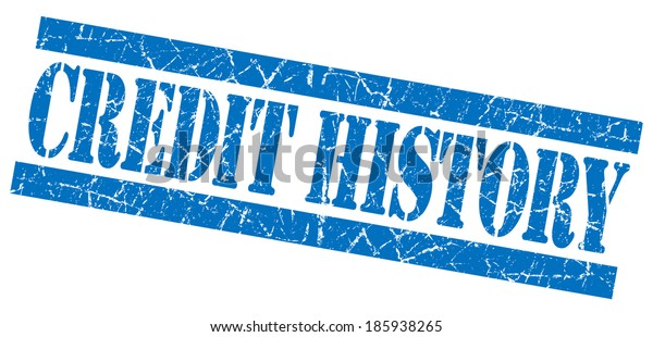 credit history blue square grunge textured stamp isolated on white