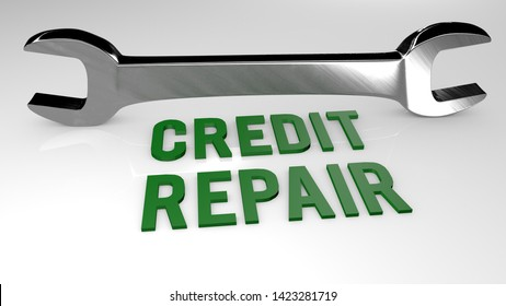 Credit repair title concept illustration. 3D render illustration.