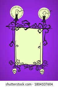 Creepy blank frame with candles and skulls. Hand drawn Halloween greeting card celebration design element. Holiday illustration isolated over purple.