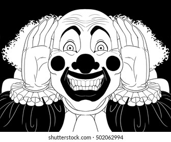 Creepy clown peering into a window.