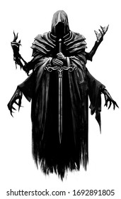 A creepy Ghost with six hands in a sinister hood in which there is a black void, he hovers in the air, holding a long sword in his hands .2D illustration.