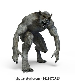 Creepy howling grey Werewolf 3D Illustration