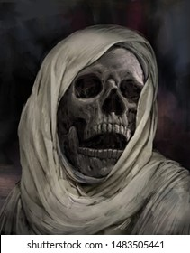 Creepy human skull for horror, Halloween or death themed concepts. digital art style, illustration painting