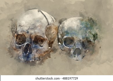 Creepy human skull in watercolor painting style for horror, Halloween or death themed concepts