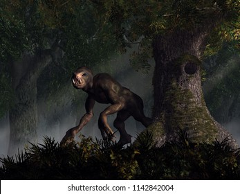 A creepy humanoid monster stalks a dark forest.  This creature has big black eyes, dark mottled skin, long gangly arms, and sharp teeth and claws.  It looks your way. 3D Rendering