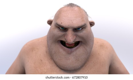 Creepy Joe. 3D rendered cartoon character with realistic skin.