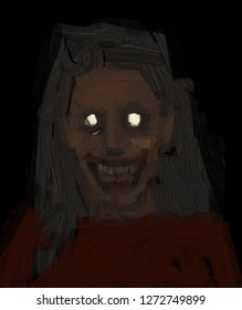 Creepy psycho crazy woman with a grin in her face horror halloween scary concept digital painting illustration