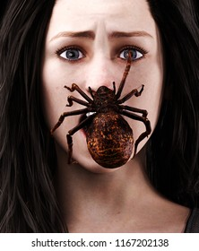 Creepy spider on woman face,3d illustration for book illustration or book cover