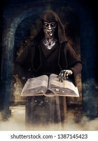 Creepy undead wizard in a hooded robe holding a book of spells. 3D illustration.