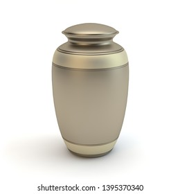 Cremation urn isloated on white background, 3D illustration