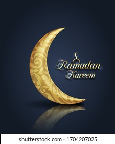 Crescent Islamic for Ramadan Kareem. Golden Half Moon - Illustration raster