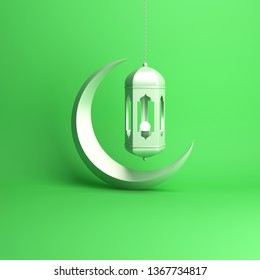 Crescent moon and arabic hanging lamp on green pastel background studio lighting. Copy space text, design creative concept for islamic celebration day ramadan kareem or eid al fitr adha. 3d rendering.