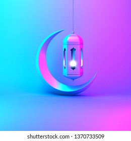 Crescent moon and arabic hanging lamp on pink blue gradient background studio lighting. Design creative concept for islamic celebration day ramadan kareem or eid al fitr adha. 3d rendering.