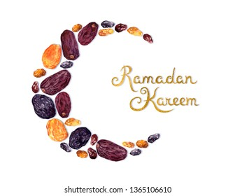 Crescent moon arranged  from dried fruits - dates, prunes, dried apricots, raisins. Ramadan kareem waterolor