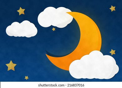 Crescent Moon Night and Strarry