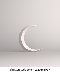 Crescent moon on white background studio lighting. Copy space text, design creative concept for islamic celebration day ramadan kareem or eid al fitr adha. 3d rendering illustration.