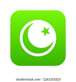Crescent and star icon digital green for any design isolated on white illustration