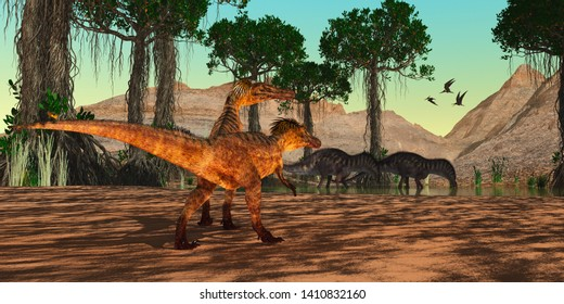 Cretaceous Era Swamp 3D illustration - Austroraptor dinosaurs watch as Amargasaurus drink from a Cretaceous swamp as a flock of Pteranodon reptiles fly nearby.
